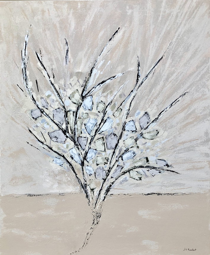 JV ESCALANT, The white roses, 100x81cm
