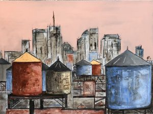 watertanks on the roof in New-York, mixed media on canvas, painting, water tank, New York, jean-Vincent Escalant